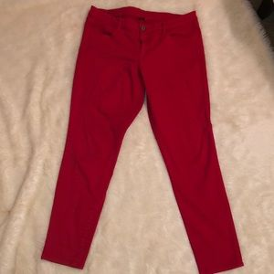 American Eagle Red skinny jeans